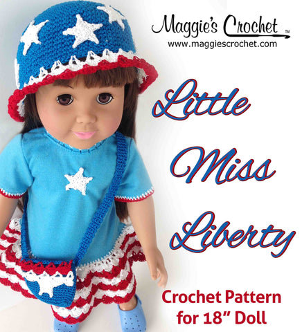 "Little Miss Liberty 18"" Doll T-Shirt Dress, Hat & Purse Crochet Pattern"