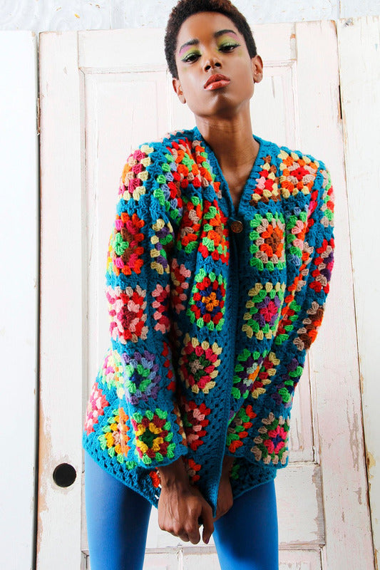 Crochet Pattern Granny Square Vintage Sweater Jacket - Maggie's Crochet