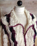 crochet collar white blue purple shell