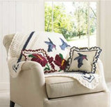 hummers and hibiscus afghan and pillows