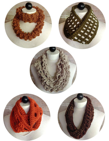 crochet infinity scarves brown green orange grey