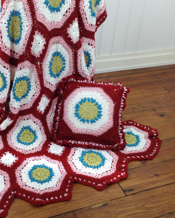 Hippie Chic Afghan & Pillow Set Crochet Pattern - Maggie's Crochet