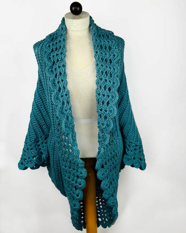 crochet teal jacket mannequin