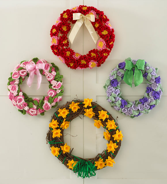 Floral Year of Wreaths Set 1 (January to April) Crochet Patterns - Maggie's Crochet
