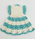 crochet blue white dress potholder