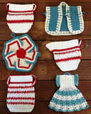 crochet red whit blue pinwheel dress vest creamer potholder