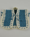 crochet white blue vest potholder