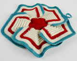 crochet red white blue pin wheel