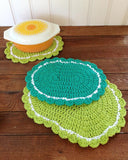 crochet oval green hot pad orange dish