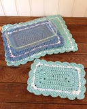 crochet rectangle blue hot pad