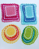 crochet pink blue yellow orange green oval round square rectangle hot pads