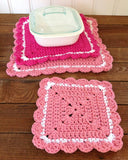 crochet pink square hot pad white dish