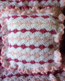 crochet pink white ruffle pillow