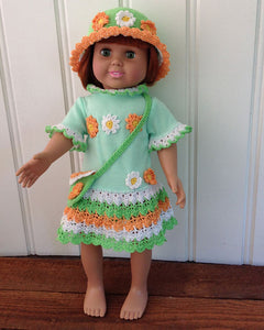 "18"" Doll Flower Power T-Shirt Dress, Hat and Purse Crochet Pattern"