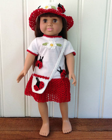"red and white ladybug t-shirt dress on 18"" doll with matching purse and hat"