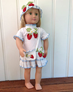 "18"" Doll Strawberry Tee Shirt Dress, Hat & Purse Crochet Pattern - Maggie's Crochet"