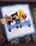 crochet racoon horse giraffe owl dog blue white train afghan