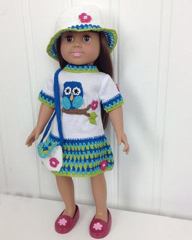"18"" Doll Owl T-Shirt Dress, Hat & Purse Crochet Pattern"