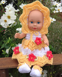 "Little Miss Sunshine for 15"" Dolls Crochet Pattern - Maggie's Crochet"
