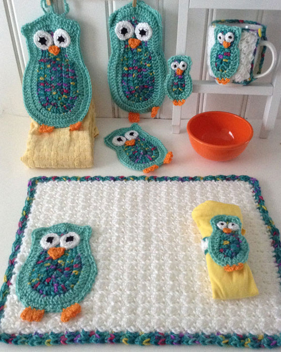 Owl Kitchen Set Crochet Pattern