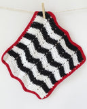 Black, White, Red & Yellow Dishcloth Set Crochet Pattern - Maggie's Crochet
