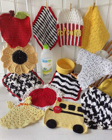 Black, White, Red & Yellow Dishcloth Set Crochet Pattern