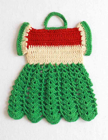 Vintage Summer Watermelon Dress Potholder Crochet Pattern