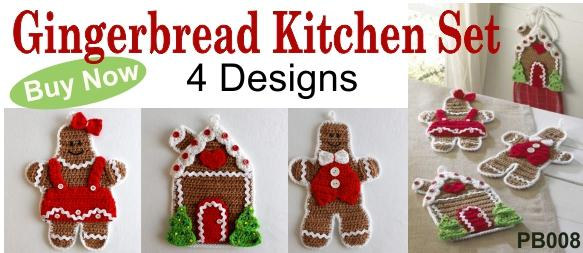 Gingerbread Crochet Kitchen Set