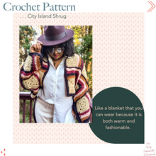 Load image into Gallery viewer, city island shrug crochet pattern