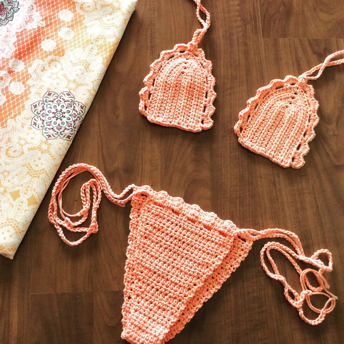 peachy beach crochet bikini