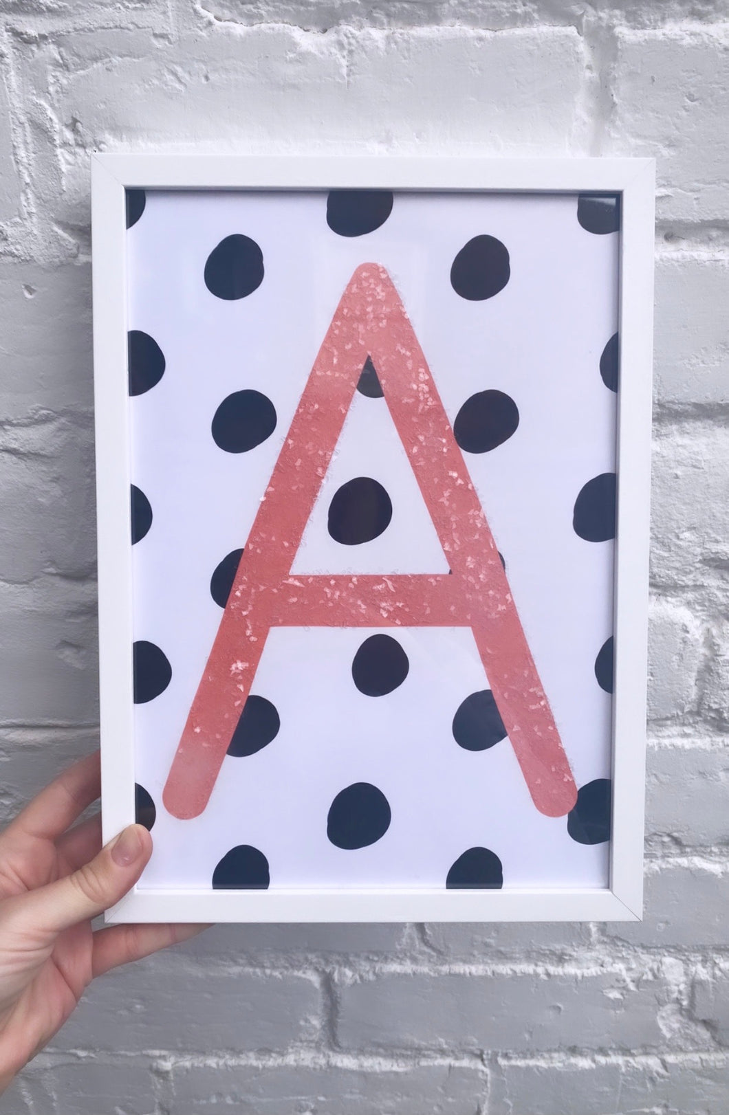 Polka dot dusted initial print