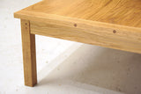 Solid oak coffee table, end detail