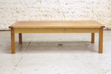 Solid oak coffee table, side view