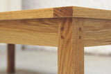 Solid oak coffee table, leg joinery detail