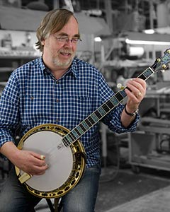 Tony Trischka with his Deering Golden Clipper Banjo