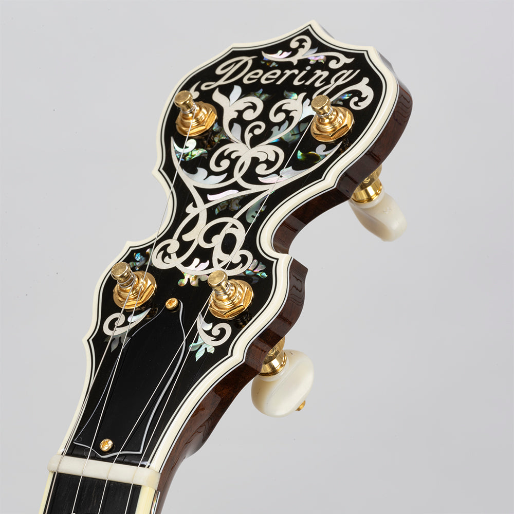Deering Tree Of Life banjo - Peghead Close