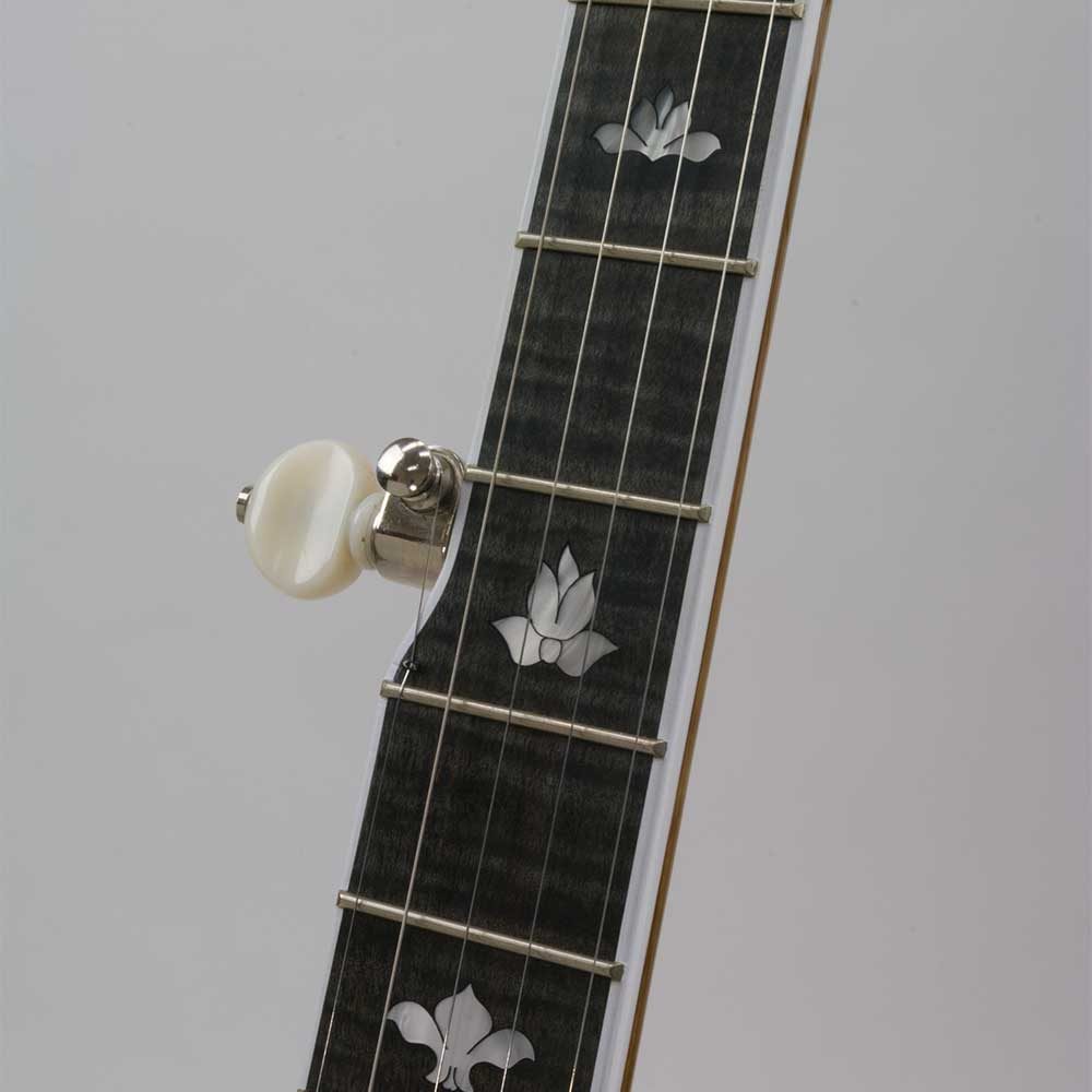 Deering White Lotus 5-String Banjo - neck front