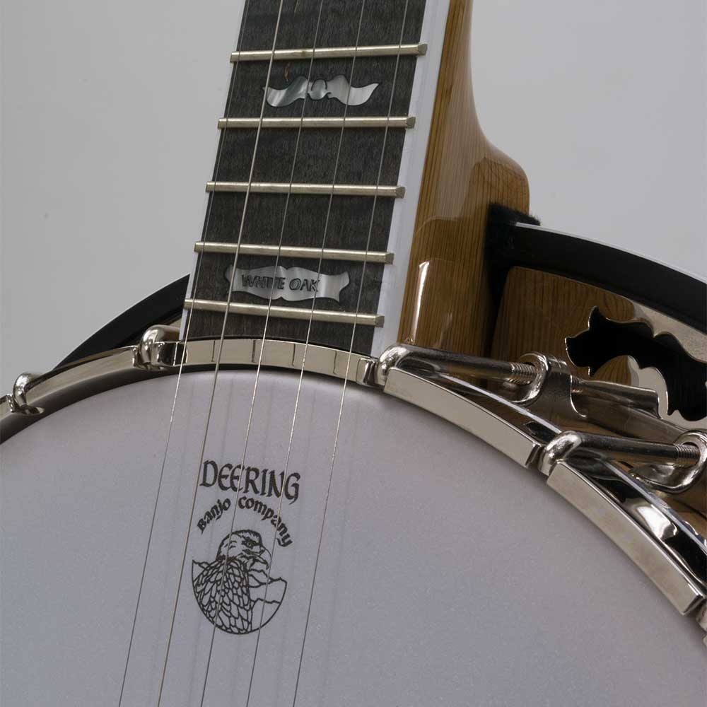 Deering White Lotus 5-String Banjo - neck joint front