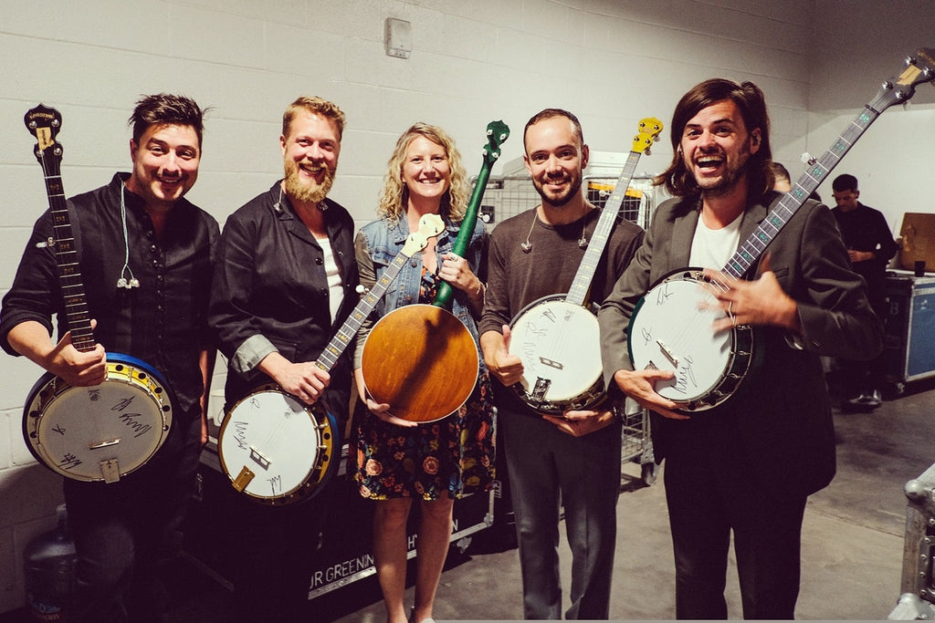 Mumford & Sons with Jamie Deering and Signed Charity Banjos