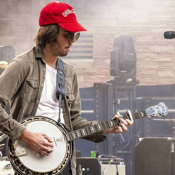 Evan Westfall with his Deering Eagle II Acoustic Electric banjo