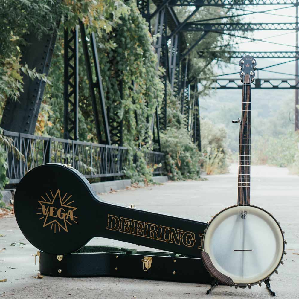 Vega Vintage Star banjo and case on bridge