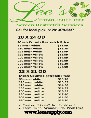 Restretch Price List