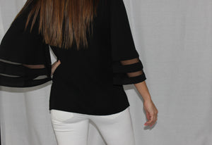 V-Neck Flare Sleeve Blouse