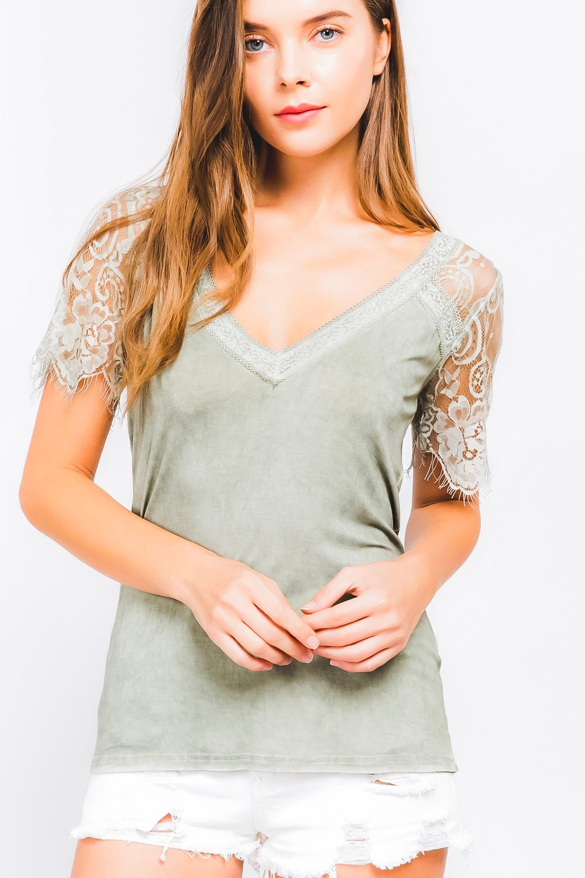 Scalloped lace sleeve top