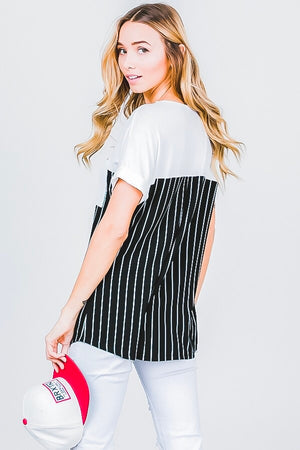 Crew neck cuffed sleeve  blouse