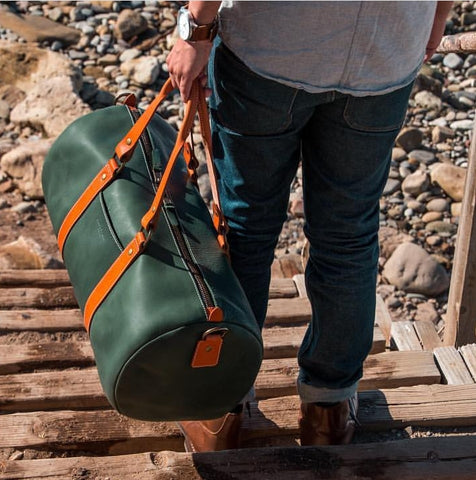 Boulevard East Green Horween Leather Barrel Bag Duffel at The Lodge