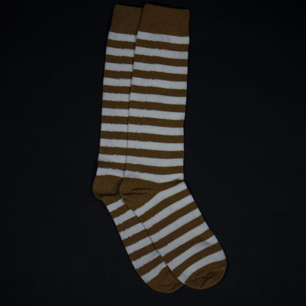RUGBY STRIPE SOCKS OCHRE/ WHITE - THE LODGE  - 1