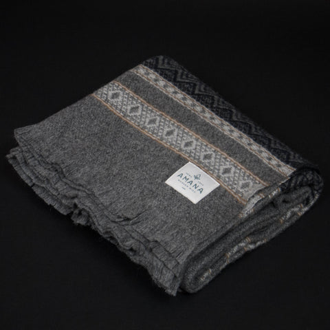 Amana Woolen Mill Alpine Wool Throw Grey at The Lodge