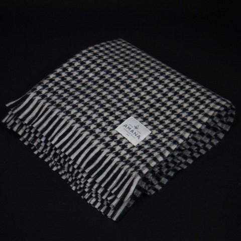 Amana Woolen Mills Houndstooth Wool Throw Black/White at The Lodge