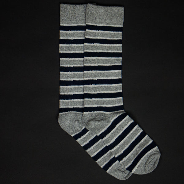 ALUMINUM/NAVY COTTON STRIPE SOCKS - THE LODGE  - 1